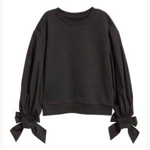 H&M Puff-Sleeved Sweatshirt in Black Tie Sleeves